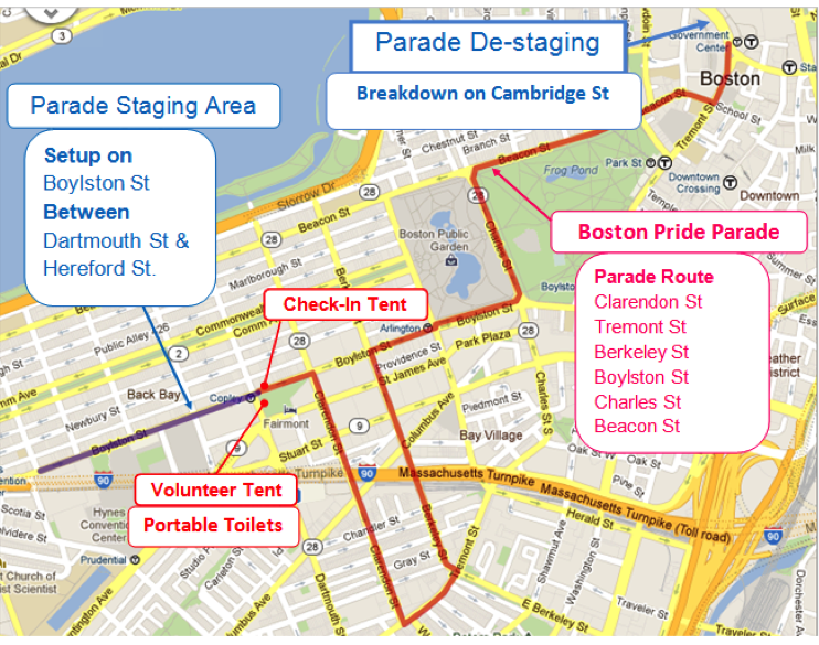 2016 Boston Pride Parade Route