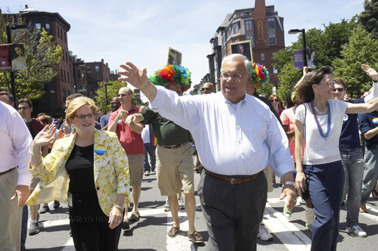 Mayor Menino marching in the 2009 Boston Pride Parade