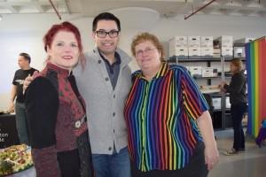 Left to Right: Kristen Porter, Grand Marshal; Sylvain Bruni, President of Boston Pride; and Linda DeMarco, Vice President of Boston Pride